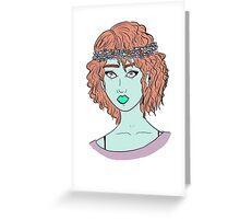 Floral Pastel Woman's Portrait Greeting Card