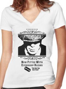 Peaky Blinders - Now fitted with eversharp razors Tshirt Women's Fitted V-Neck T-Shirt
