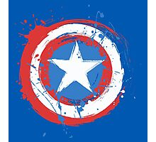 Captain America Shield Paint Splatter Design Photographic Print