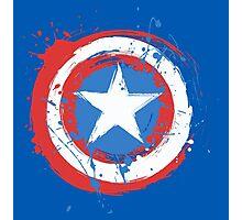 Captain America Shield Paint Splatter Design Photographic Print