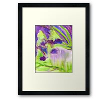 Abstract Watercolor Iris Field Purple Blue Green Framed Print