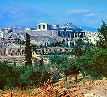 Athenian Acropolis from Philopappou Hill, 1960 by Priscilla Turner