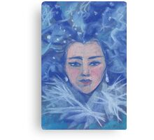 Snow girl, pastel painting Canvas Print