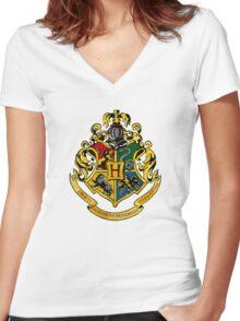 Hogwarts logo Women's Fitted V-Neck T-Shirt