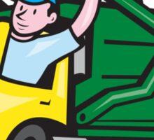 Garbage Truck Driver Waving Cartoon Sticker