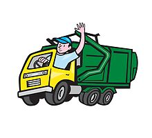Garbage Truck Driver Waving Cartoon by patrimonio