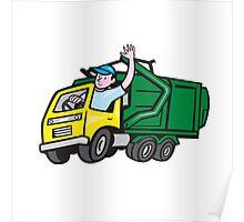 Garbage Truck Driver Waving Cartoon Poster