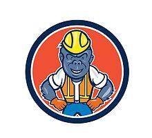 Angry Gorilla Construction Worker Circle Cartoon by patrimonio