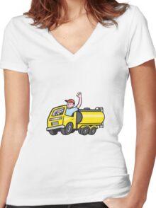 Tanker Truck Driver Waving Cartoon  Women's Fitted V-Neck T-Shirt