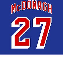 New York Rangers Ryan McDonagh Jersey Back Phone Case by Russ Jericho