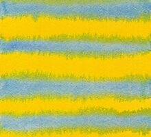 Abstract Hand-Painted Watercolor Stripes Blue Yellow by Beverly Claire Kaiya
