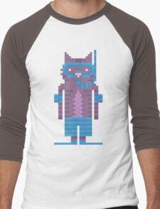 Snorkel Swimmer Cat Pixel Art Men's Baseball ¾ T-Shirt