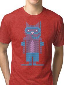 Snorkel Swimmer Cat Pixel Art Tri-blend T-Shirt