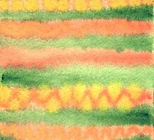 Hand-Painted Watercolor Stripes Green Orange by Beverly Claire Kaiya