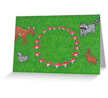 The Fauna and the Fairy Ring - Whimsical Animal Art Greeting Card