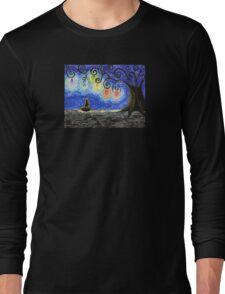 Black Kitty Haunted Tree Long Sleeve T-Shirt