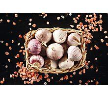 Garlic Close Up with Pink Himalayan Salt Photographic Print