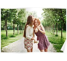 Two Young Happy Girls Having Fun in the Park Poster
