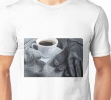 Grey wool scarf and leather gloves Unisex T-Shirt