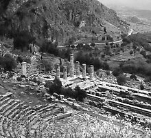 Temple of Apollo and Theatre, Delphi 1960, B&W by Priscilla Turner