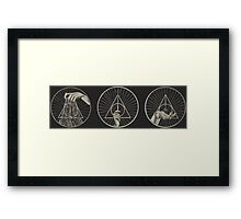 The Cloak, The Wand, The Stone Framed Print