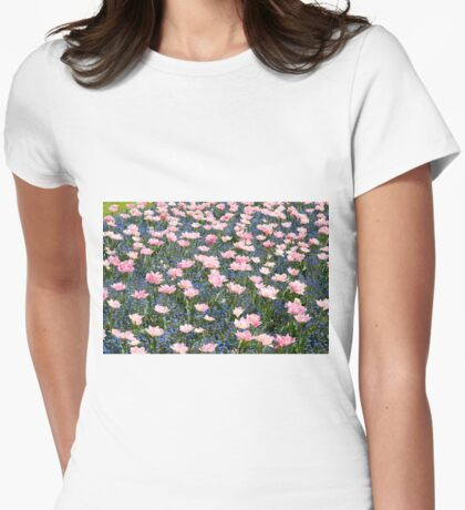 Pink Foxtrot tulips abstract Womens Fitted T-Shirt