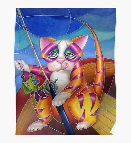 Kitty Row Your Boat Poster