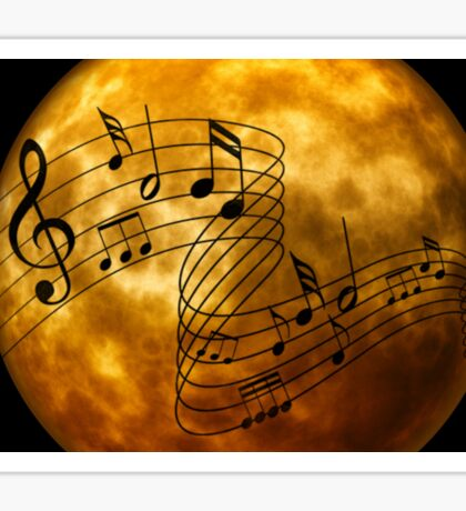 music notes moon Sticker