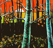 Orange Sky Through the Trees by Alison Newth