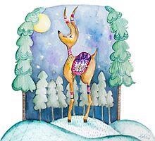 Winter Wonderland Reindeer Watercolor by joyfulroots