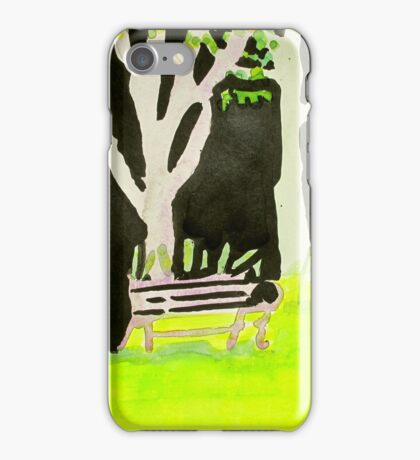 Three trees and purple bench iPhone Case/Skin