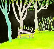 Three trees and purple bench by donna malone