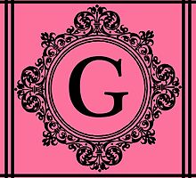 Hot Pink and Black Monogram G by Greenbaby