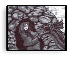 The Girl and the Baby Dragon Canvas Print