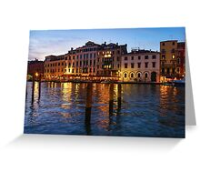 Venetian Impressions - Blue Hour Along the Grand Canal  Greeting Card
