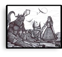 Giant Girls and Friendly Monsters Canvas Print