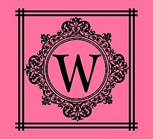 Hot Pink and Black Monogram W by Greenbaby