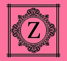 Hot Pink and Black Monogram Z by Greenbaby