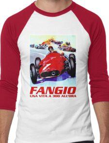 FANGIO; Vintage Grand Prix Auto Racing Print Men's Baseball ¾ T-Shirt