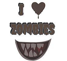 I Heart Zombies (white) Photographic Print