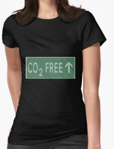 CO2 free future road sign Womens Fitted T-Shirt