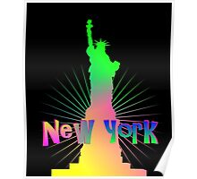 Colorful Rainbow Glow New York American Statue Of Liberty Poster