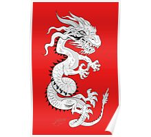 White Dragon on Red Poster