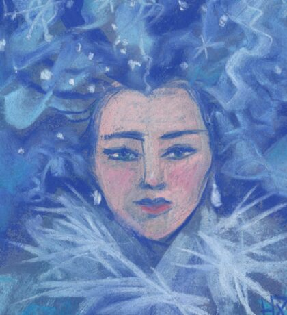 Snow girl, pastel painting Sticker