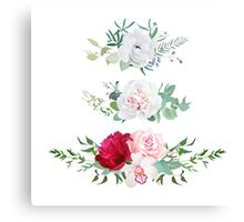 Stylish mix of horizontal flower bouquets vector design flowers set. Rose, orchid, burgundy red and white peony, anemone, eucalyptus, various plants and herbs. All elements are isolated and editable. Canvas Print