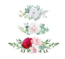 Stylish mix of horizontal flower bouquets vector design flowers set. Rose, orchid, burgundy red and white peony, anemone, eucalyptus, various plants and herbs. All elements are isolated and editable. Photographic Print