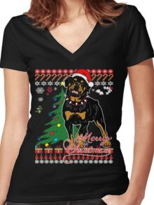 Ugly Christmas Sweater For Rottweiler Dog Lover Xmas Gift - Ladies T Shirt Women's Fitted V-Neck T-Shirt
