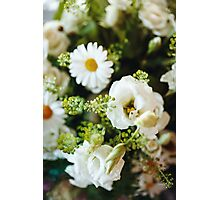 Fresh Bouquet of White Roses and Chamomile  Photographic Print