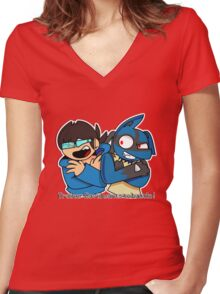 David & Lucario Women's Fitted V-Neck T-Shirt