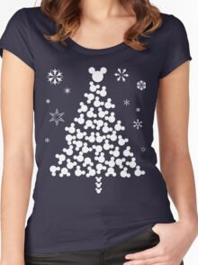 Xmas Mickey Head T-Shirt Women's Fitted Scoop T-Shirt